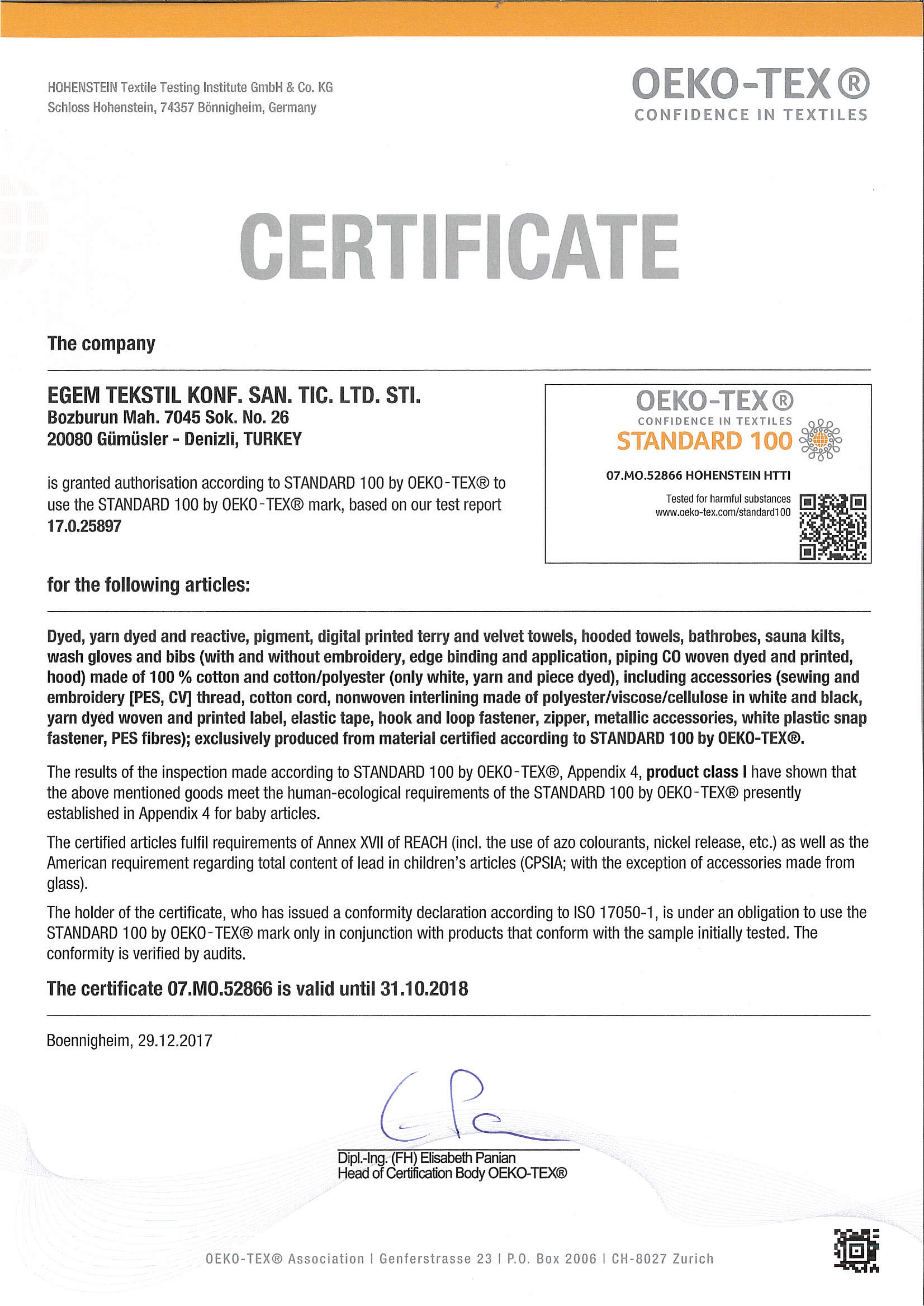 Egem Tekstil Oeko-Tex Certificate